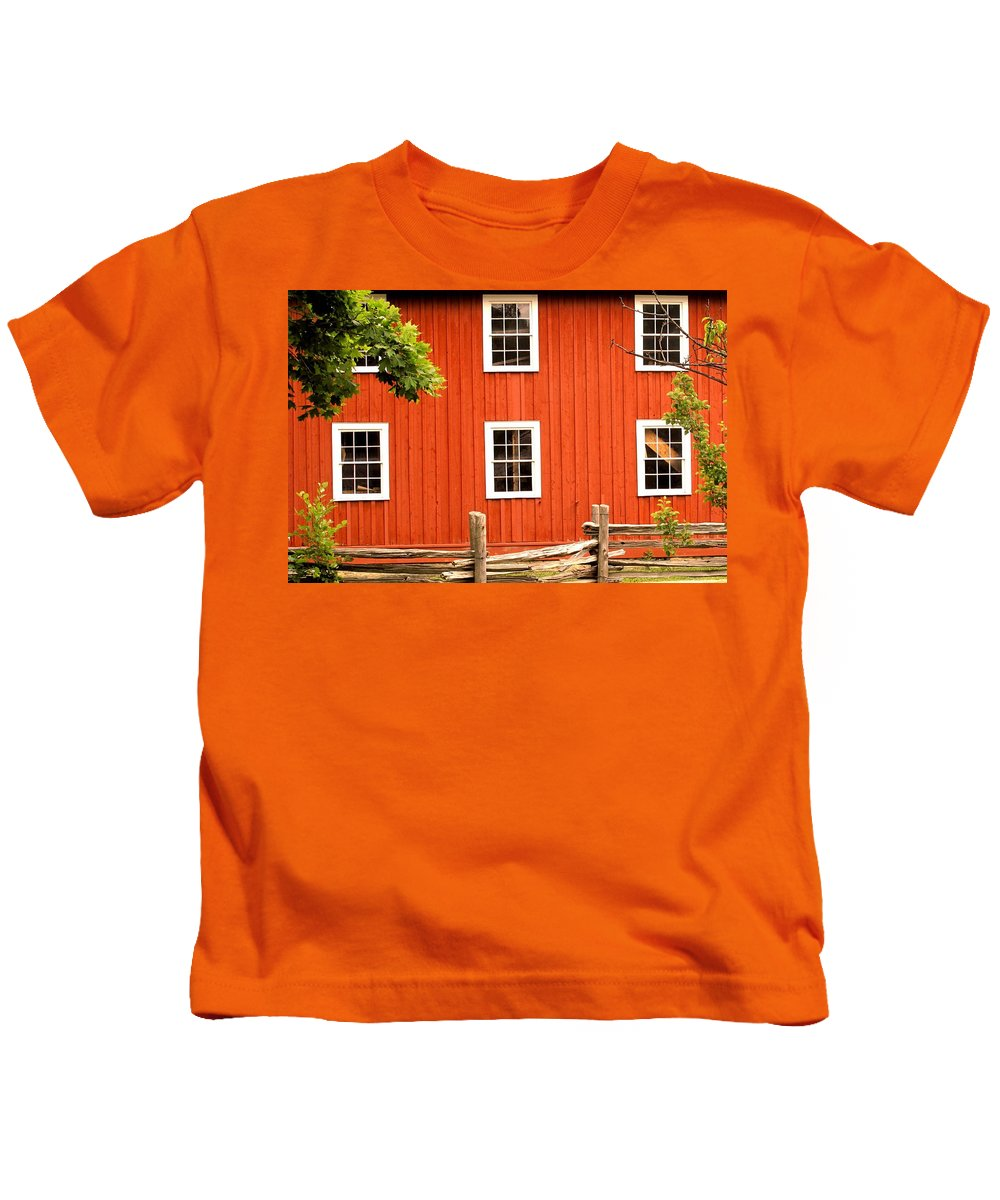 Red Wall Kids T-Shirt featuring the photograph Six Windows by Ian MacDonald