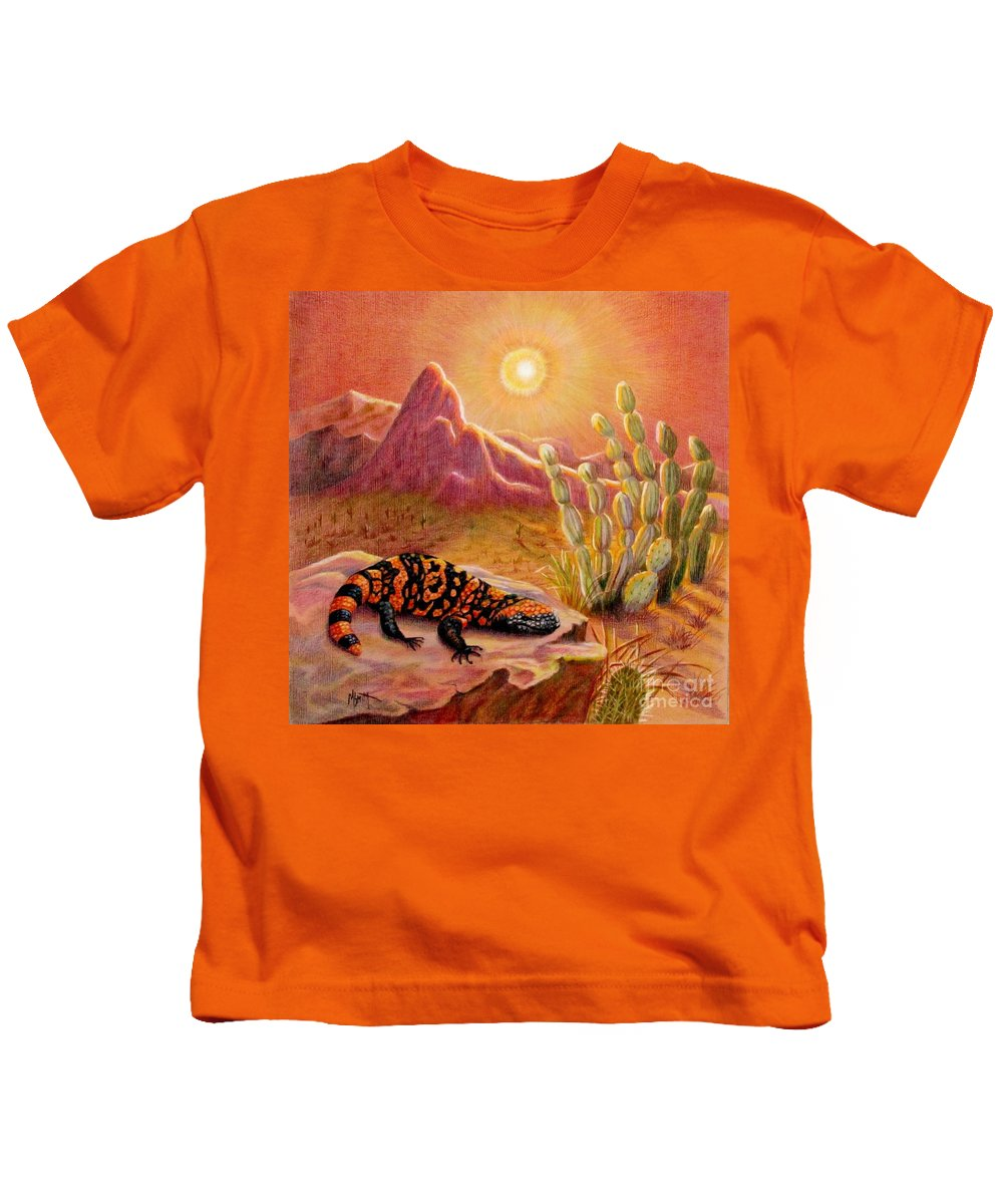 Desert Landscape Kids T-Shirt featuring the drawing Sizzling Heat by Marilyn Smith