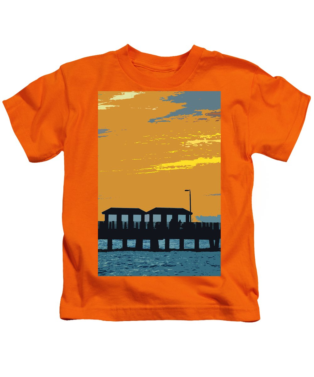 Fishing Pier Kids T-Shirt featuring the painting Sky And Pier by David Lee Thompson