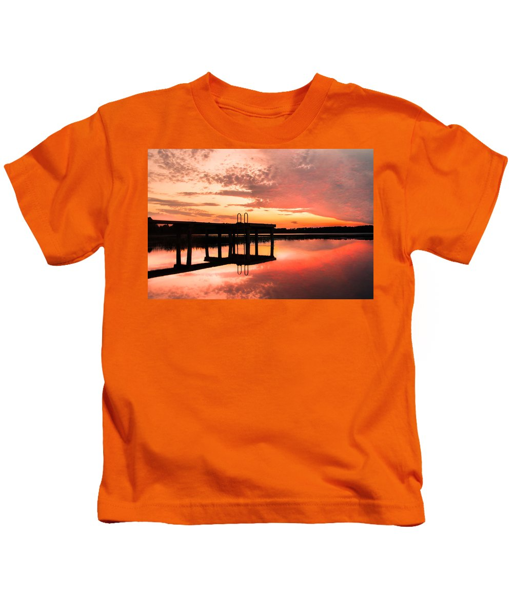 Sunset Kids T-Shirt featuring the photograph Sky On Fire by Parker Cunningham