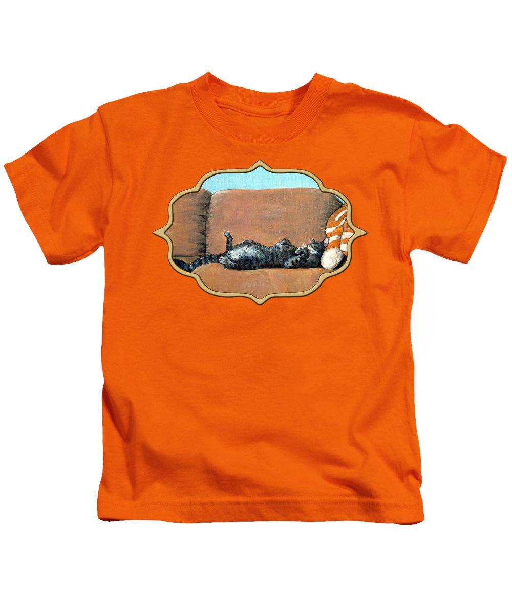 Calm Kids T-Shirt featuring the painting Sleeping Cat by Anastasiya Malakhova
