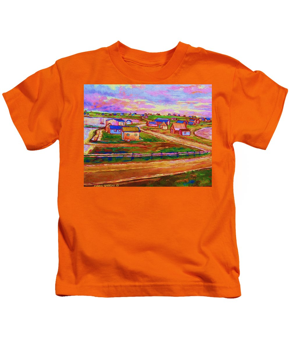 Sunrise Kids T-Shirt featuring the painting Sleepy Little Village by Carole Spandau