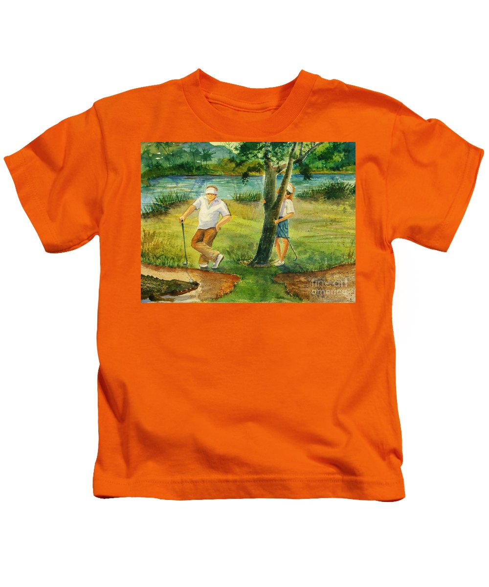 Golfers Kids T-Shirt featuring the painting Small Golf Hazard by Marilyn Smith
