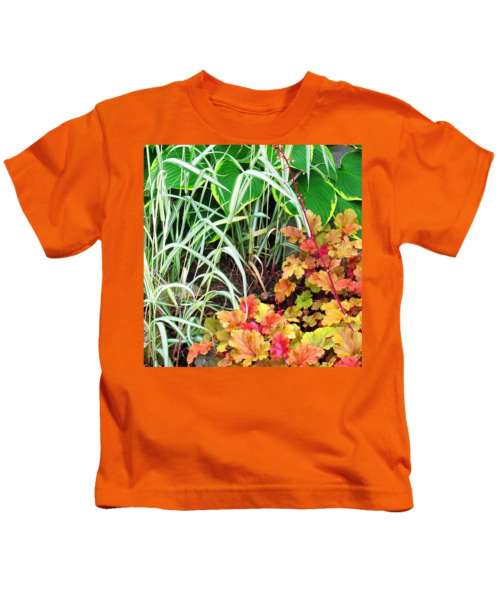Garden Kids T-Shirt featuring the photograph Snail In A Rich Composition by Ian MacDonald