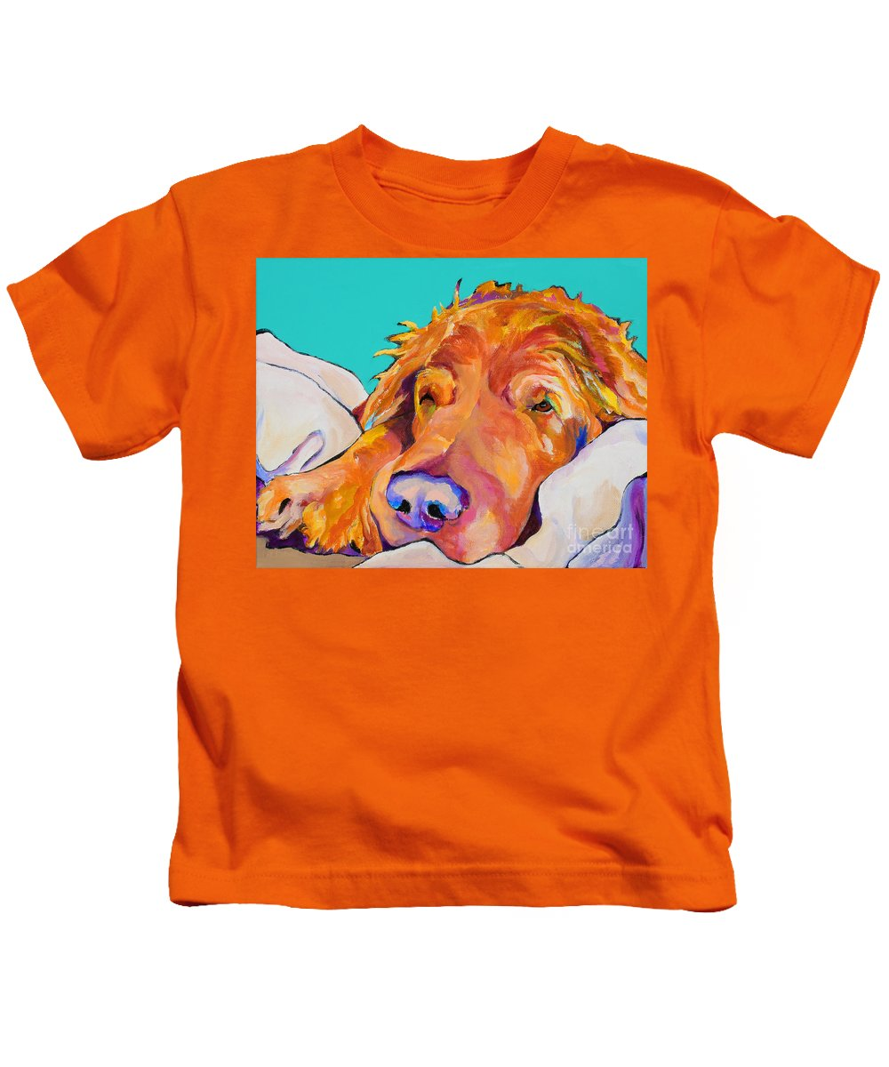 Dog Poortraits Kids T-Shirt featuring the painting Snoozer King by Pat Saunders-White