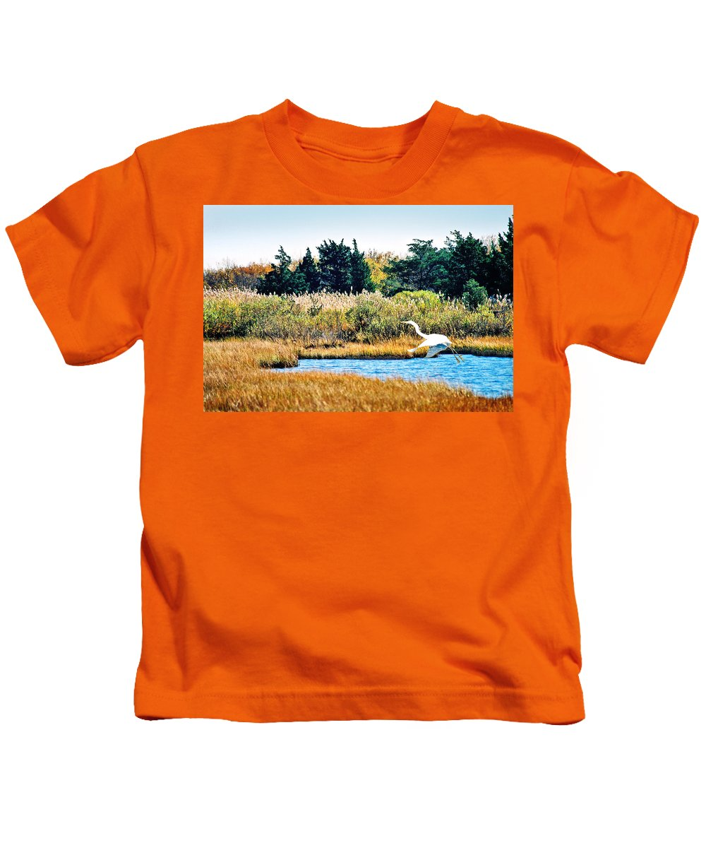 Landscape Kids T-Shirt featuring the photograph Snowy Egret-island Beach State Park N.j. by Steve Karol