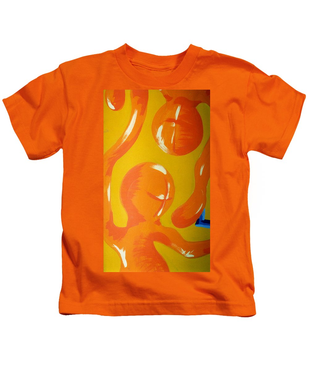 Kids T-Shirt featuring the painting Soul Figures 6 by Catt Kyriacou