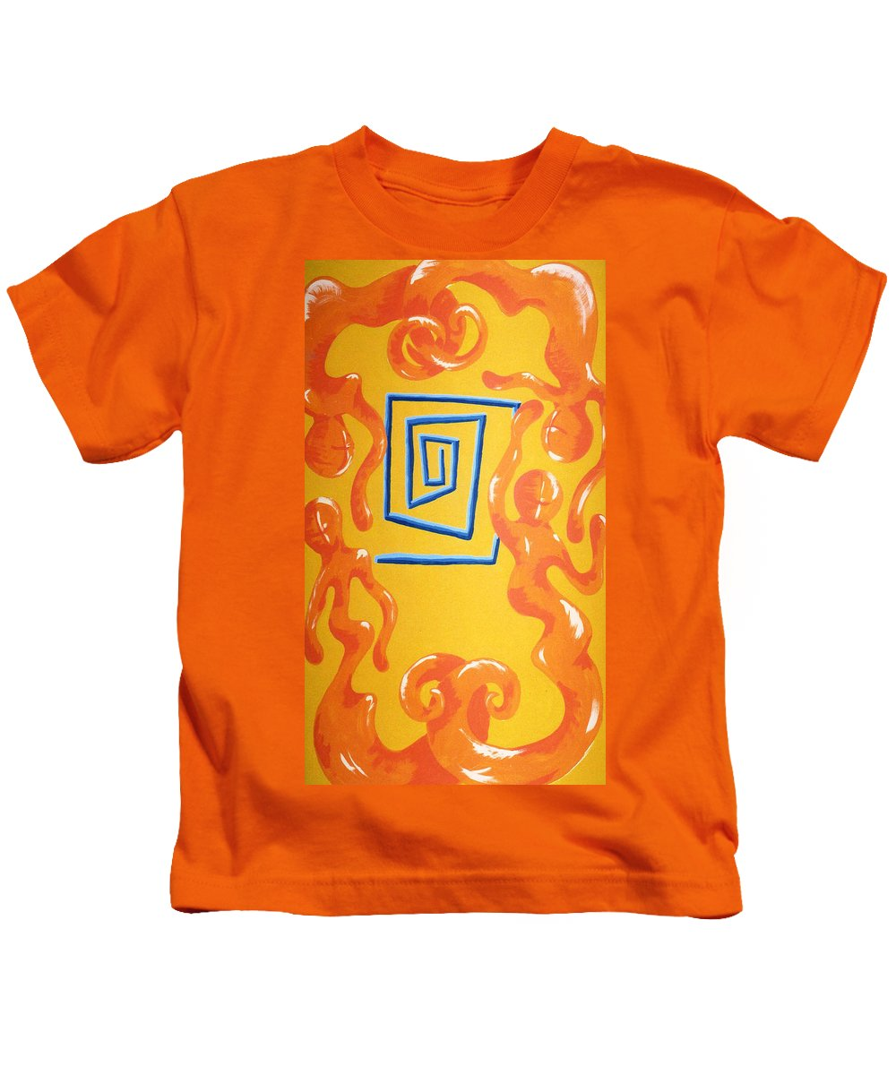 Kids T-Shirt featuring the painting Soul Figures 8 by Catt Kyriacou