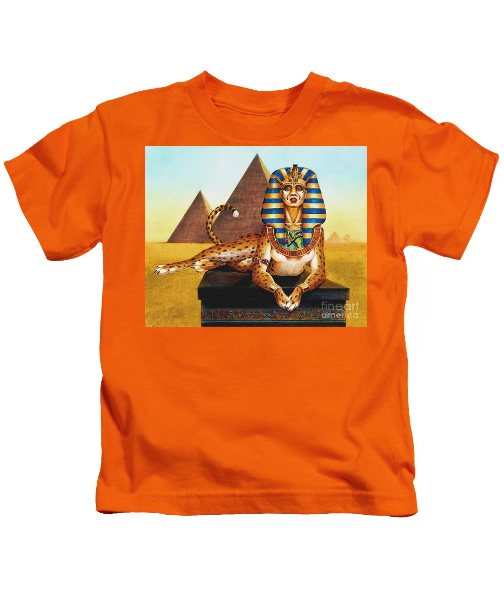 Cat Kids T-Shirt featuring the painting Sphinx On Plinth by Melissa A Benson