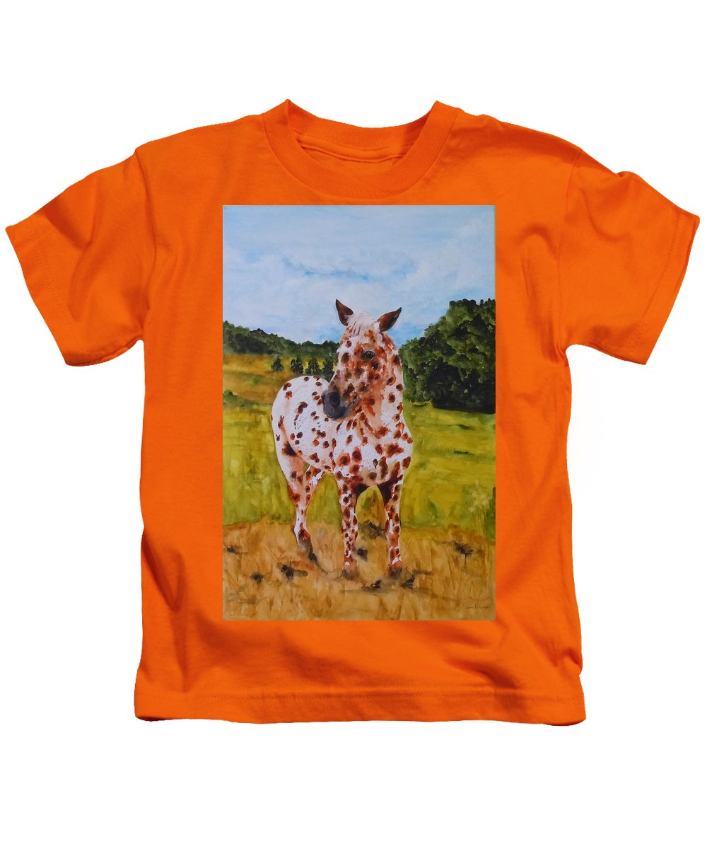 Horse Kids T-Shirt featuring the painting Spotted in Hawaii by Jean Blackmer