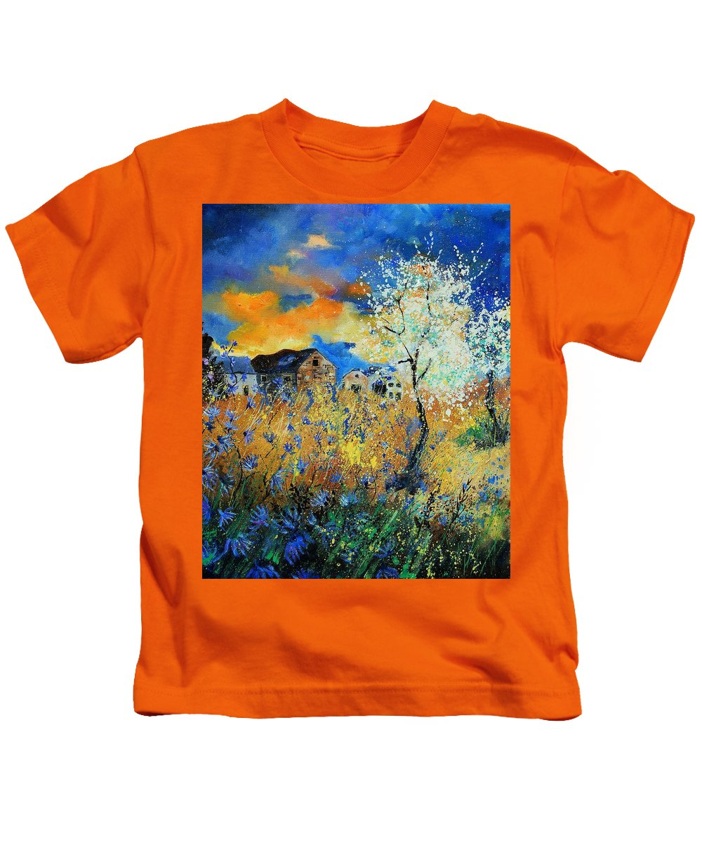 Flowers Kids T-Shirt featuring the painting Spring 67 by Pol Ledent