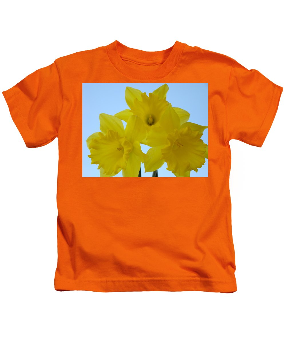 �daffodils Artwork� Kids T-Shirt featuring the photograph Spring Daffodils 2 Flowers Art Prints Gifts Blue Sky by Baslee Troutman
