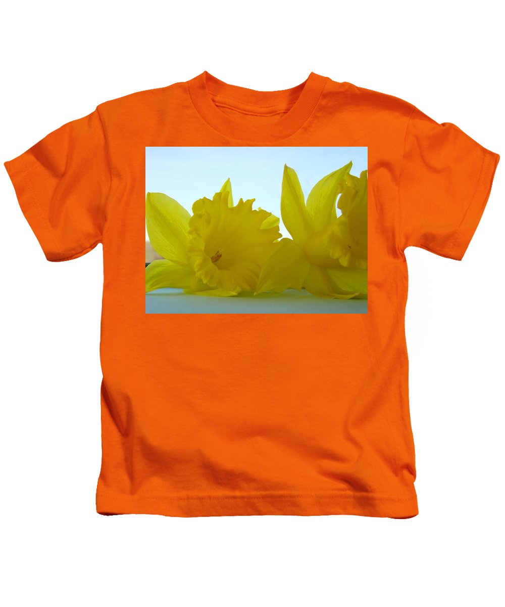 �daffodils Artwork� Kids T-Shirt featuring the photograph Spring Daffodils Flowers Art Prints Blue Skies by Baslee Troutman