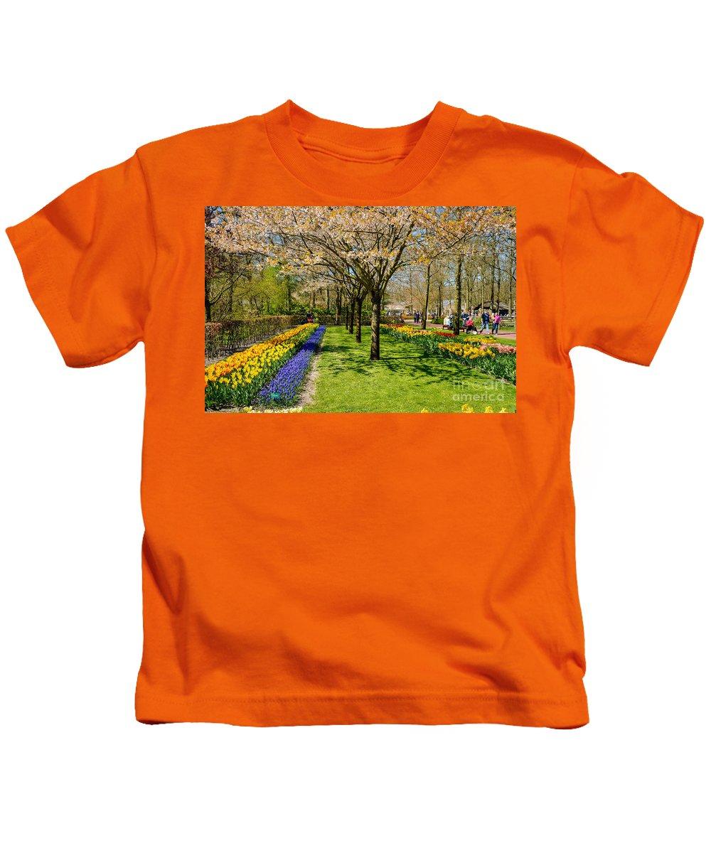 Keukenhof Kids T-Shirt featuring the photograph Spring In Keukenhof, Netherlands by Sinisa CIGLENECKI