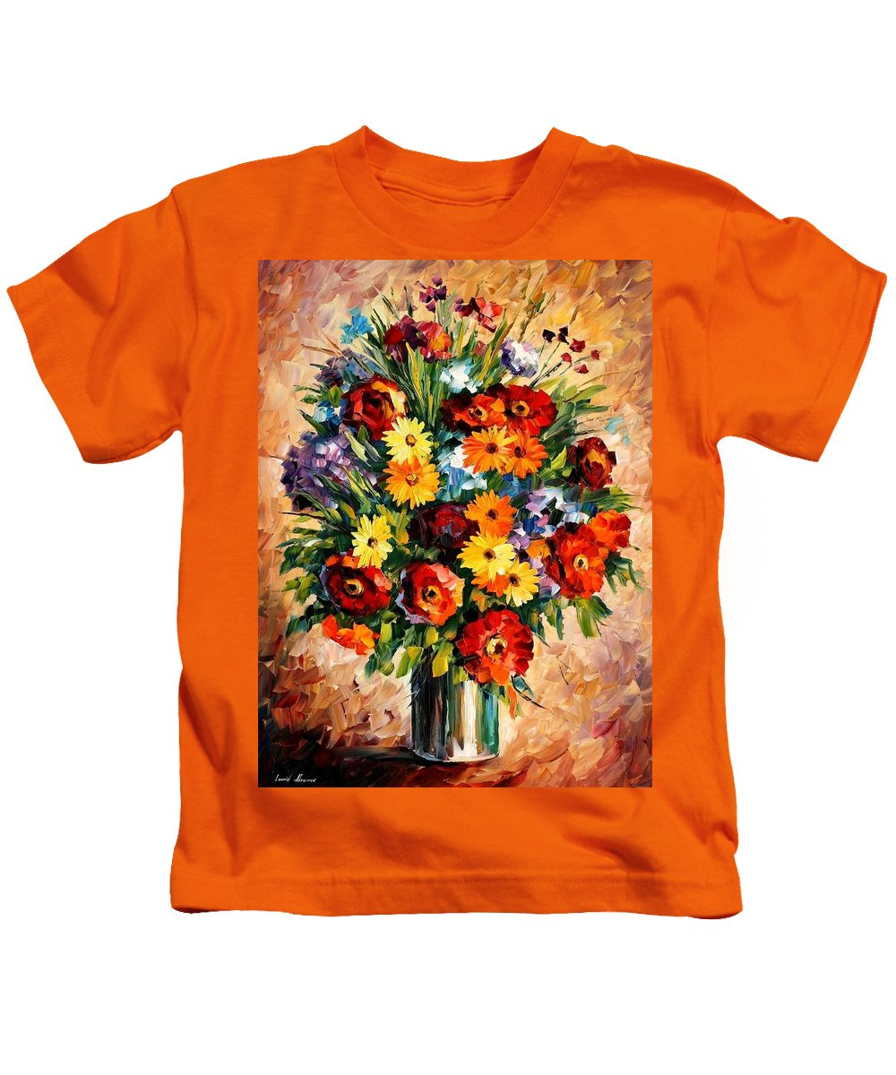 Afremov Kids T-Shirt featuring the painting Spring Passion by Leonid Afremov