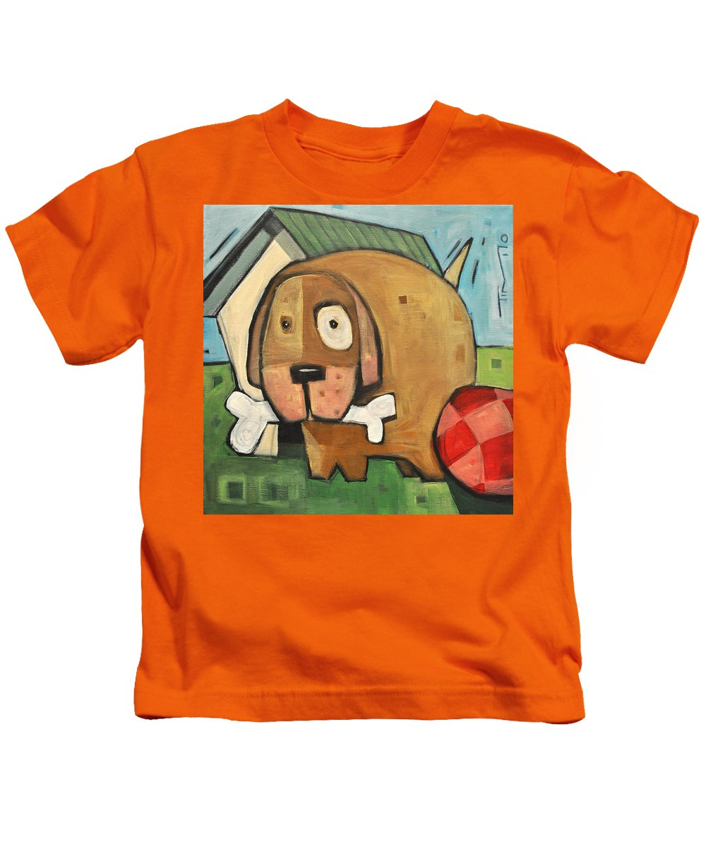 Dog Kids T-Shirt featuring the painting Square Dog by Tim Nyberg