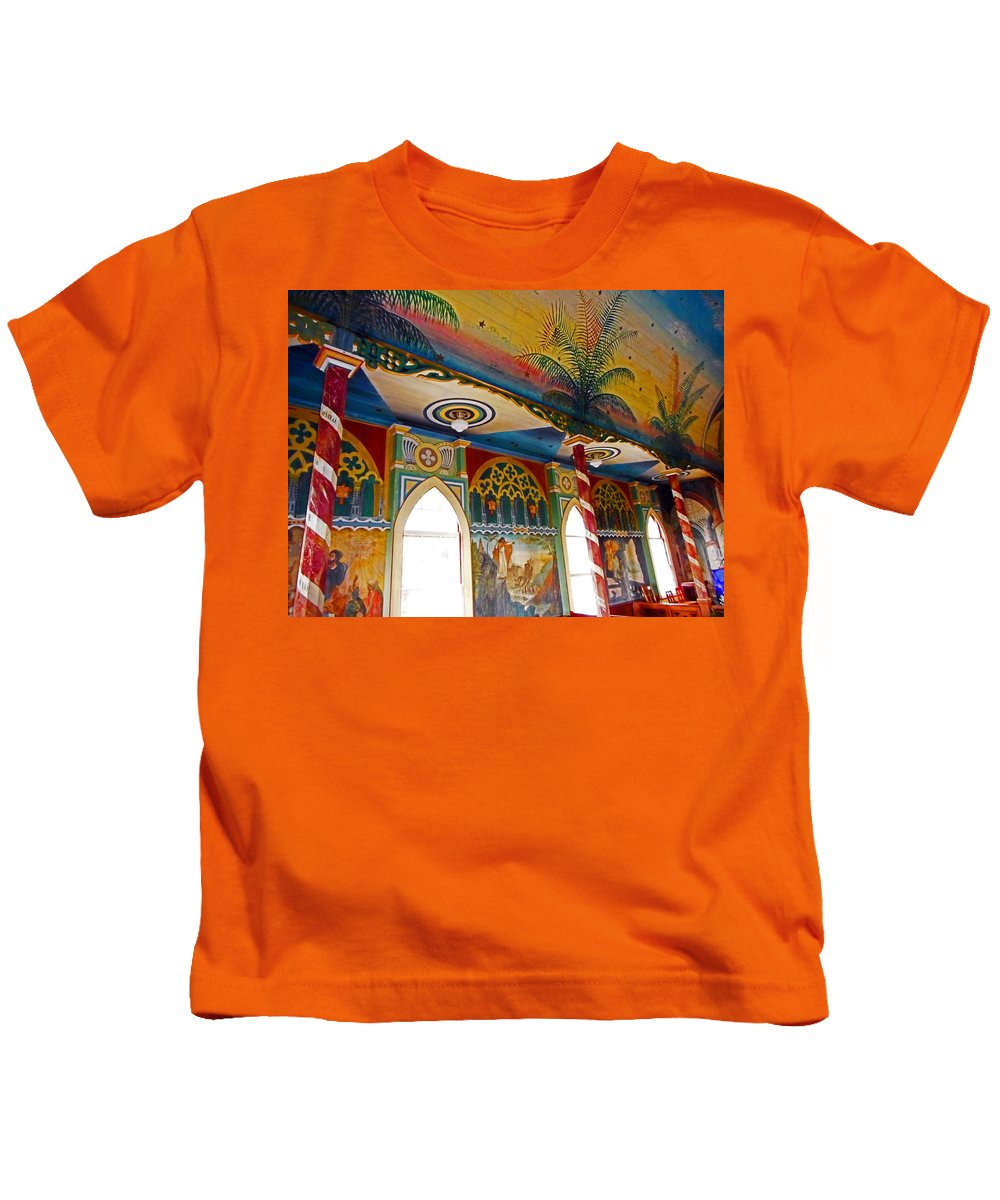 Kailua-kona Kids T-Shirt featuring the photograph St Benedicts Painted Church 8 by Ron Kandt