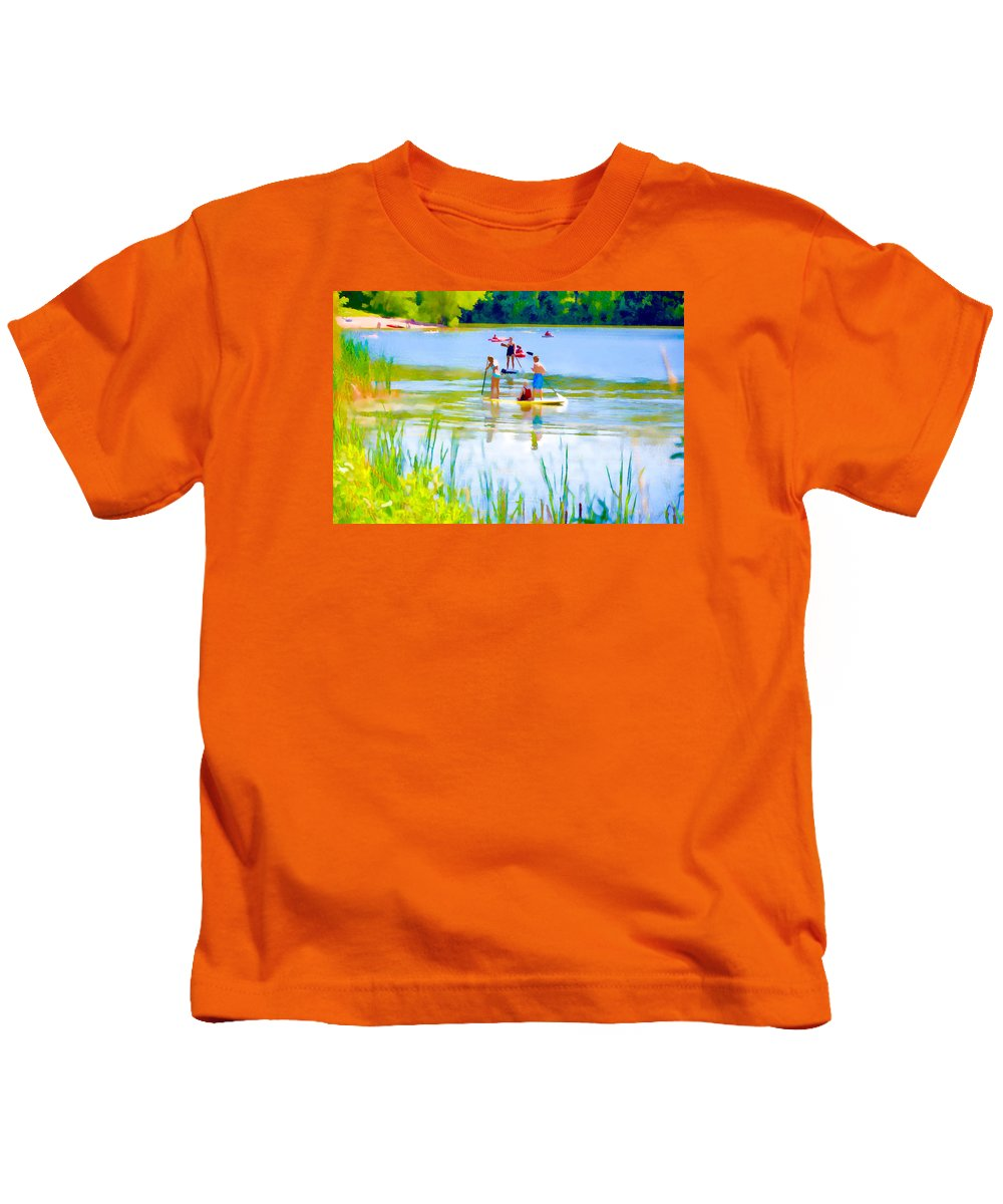 Standup Paddleboarding Kids T-Shirt featuring the painting Standup Paddleboarding 3 by Jeelan Clark