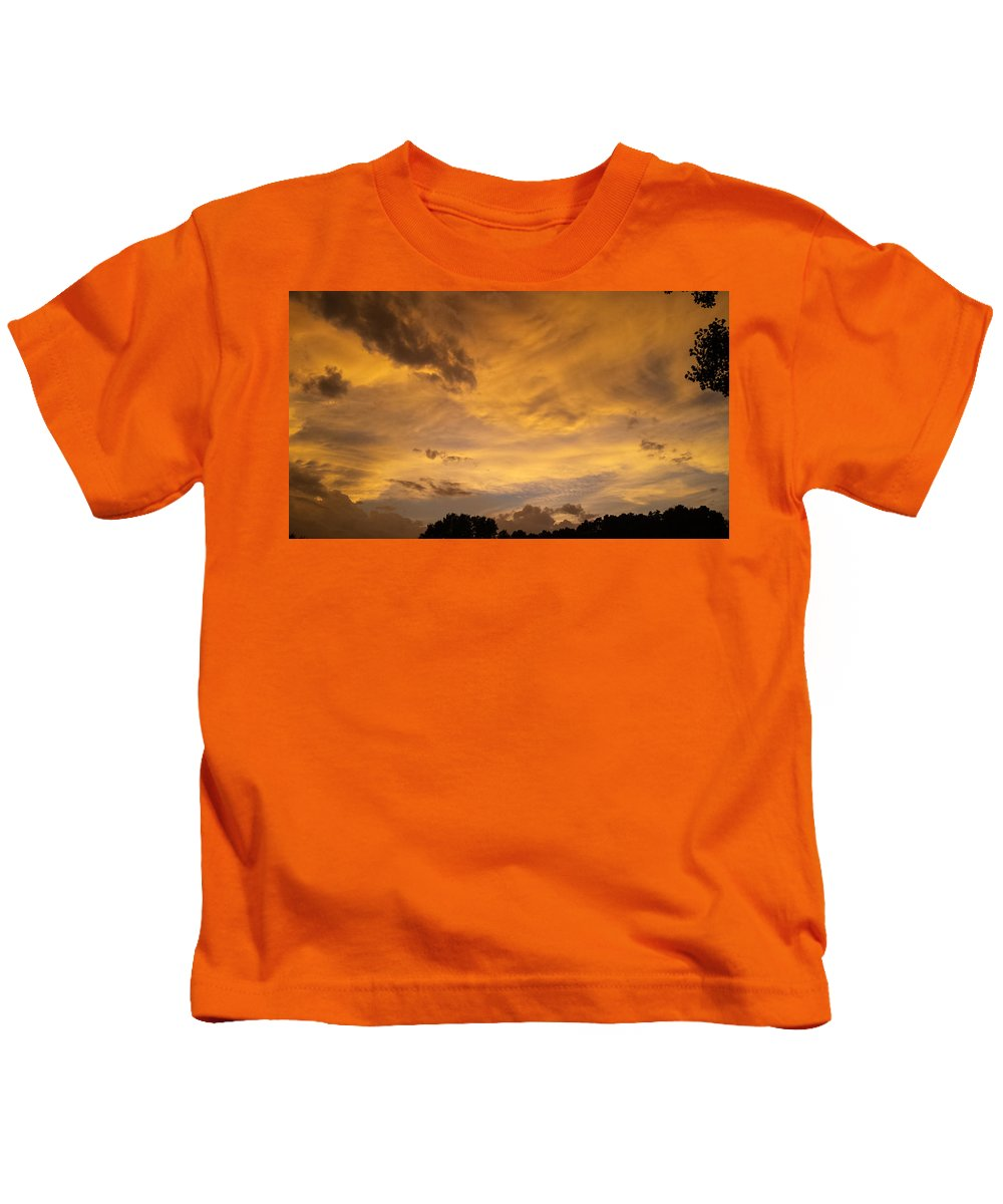 Glowing Storm Clouds Kids T-Shirt featuring the photograph Storm Clouds 6 by Jennifer Kohler