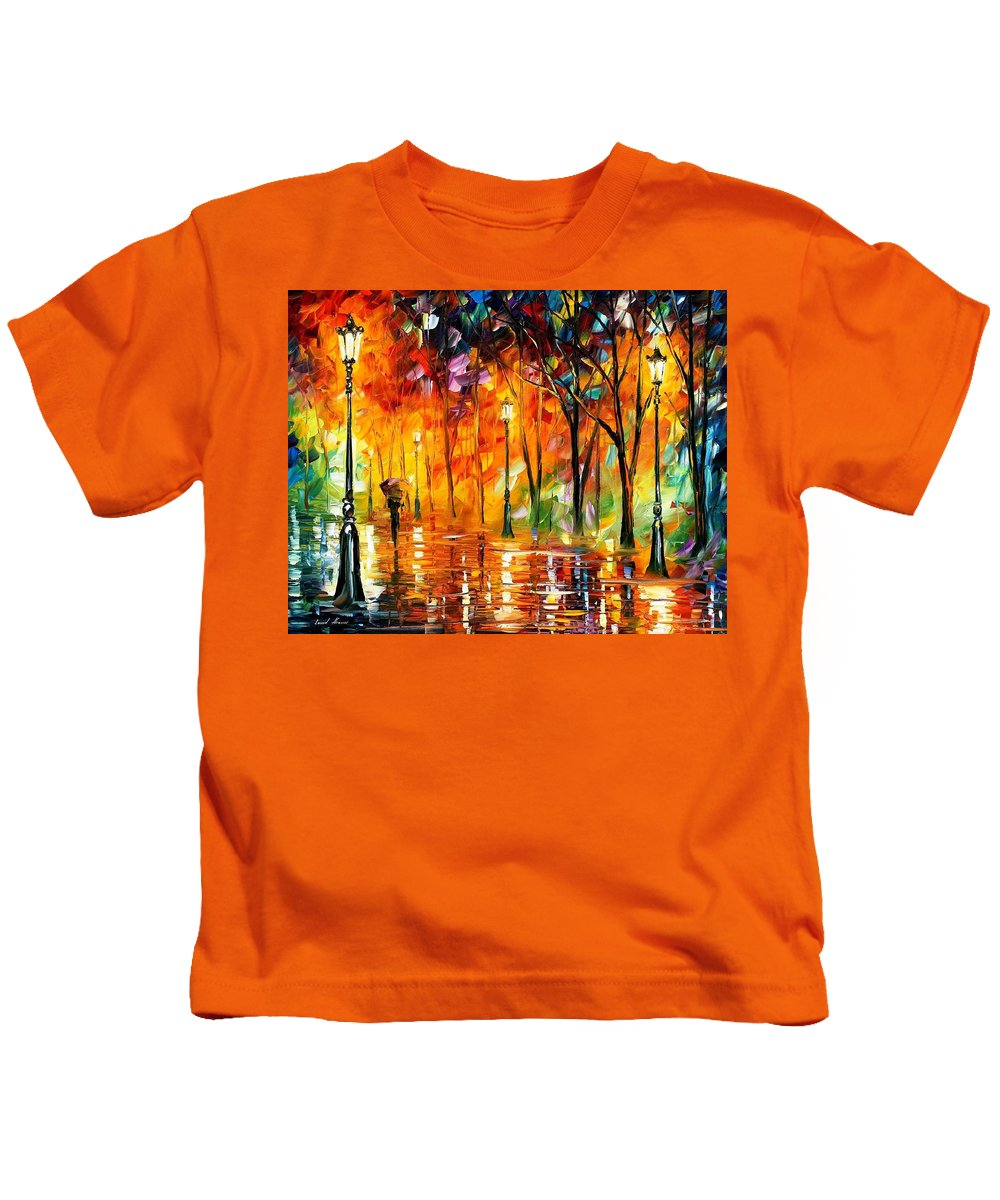 Art Gallery Kids T-Shirt featuring the painting Storm Of Emotions - Palette Knife Oil Painting On Canvas By Leonid Afremov by Leonid Afremov