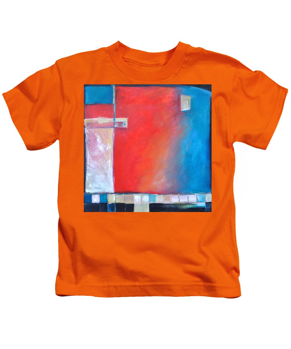 Abstract Kids T-Shirt featuring the painting Structures And Solitude Revisited by Tim Nyberg