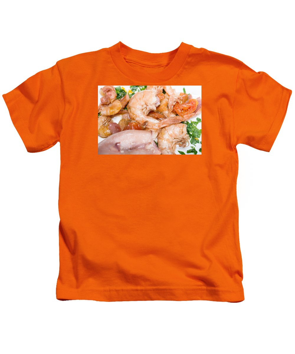 Italian Kids T-Shirt featuring the photograph Stuffed Squid Fried With Shrimp by Massimiliano Marino