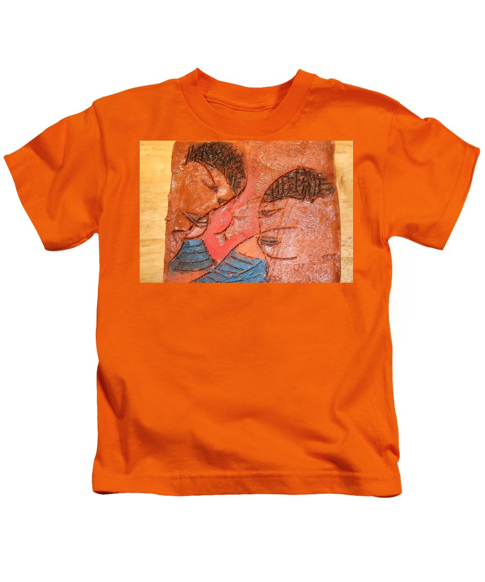 Jesus Kids T-Shirt featuring the ceramic art Sulk - Tile by Gloria Ssali