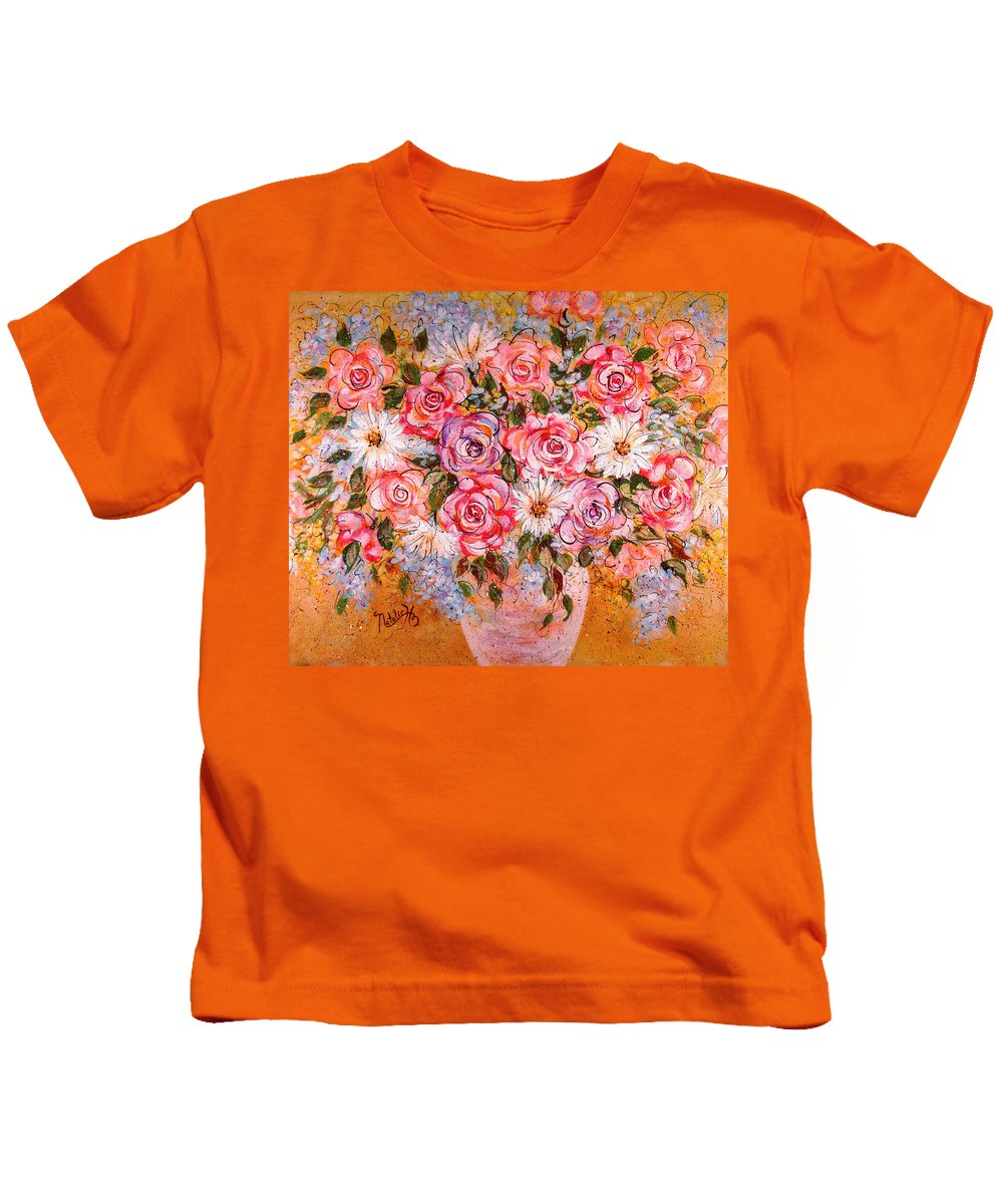 Flowers Kids T-Shirt featuring the painting Summer Bouquet by Natalie Holland