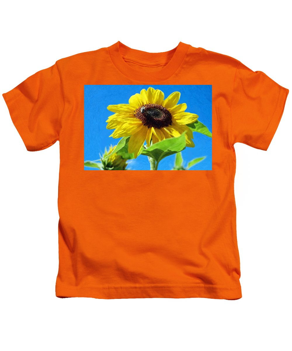 Bee Kids T-Shirt featuring the painting Sun Flower - Id 16235-142741-1520 by S Lurk