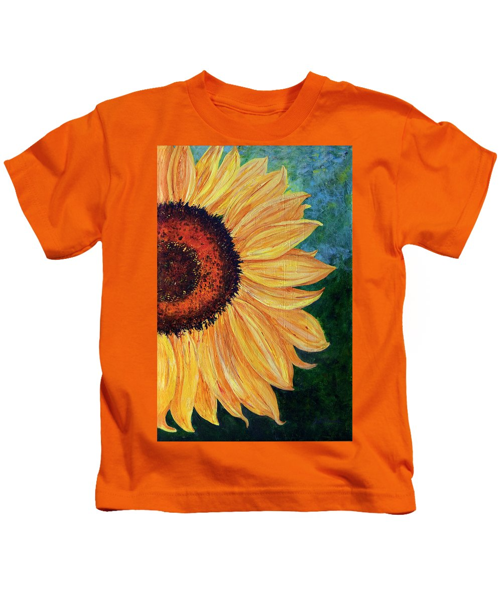 Sunflower Kids T-Shirt featuring the painting Sun Lover by Sole Avaria