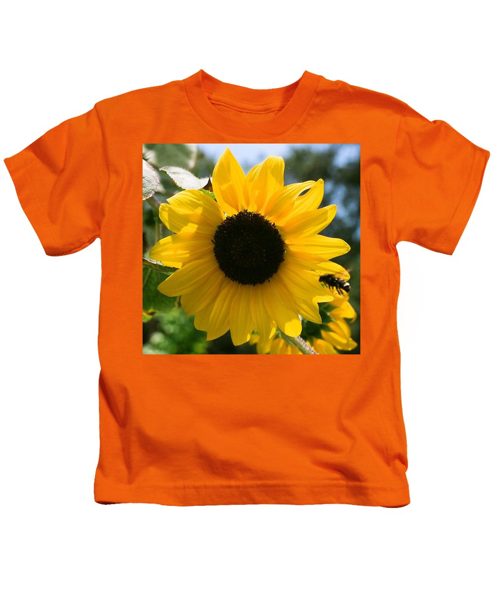 Flower Kids T-Shirt featuring the photograph Sunflower with Bee by Dean Triolo