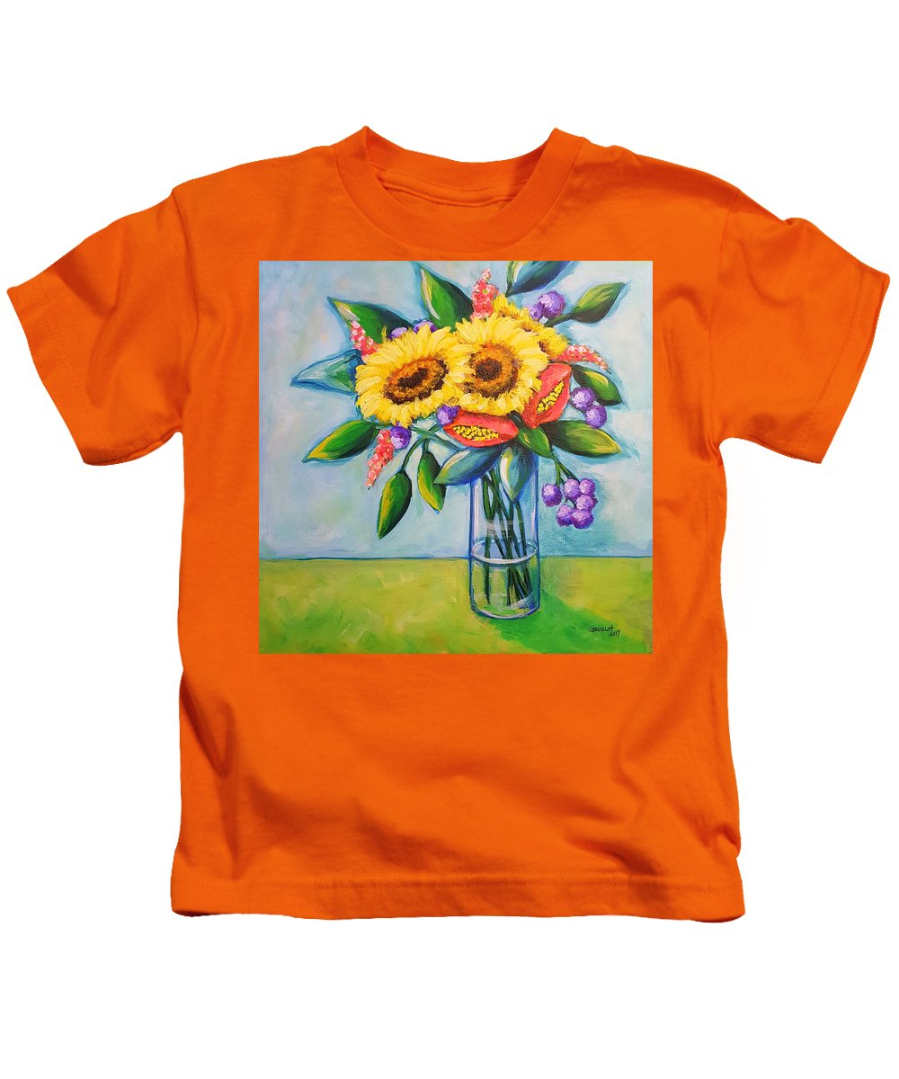 Sunflowers Kids T-Shirt featuring the painting Sunkissed by Sandra Lett