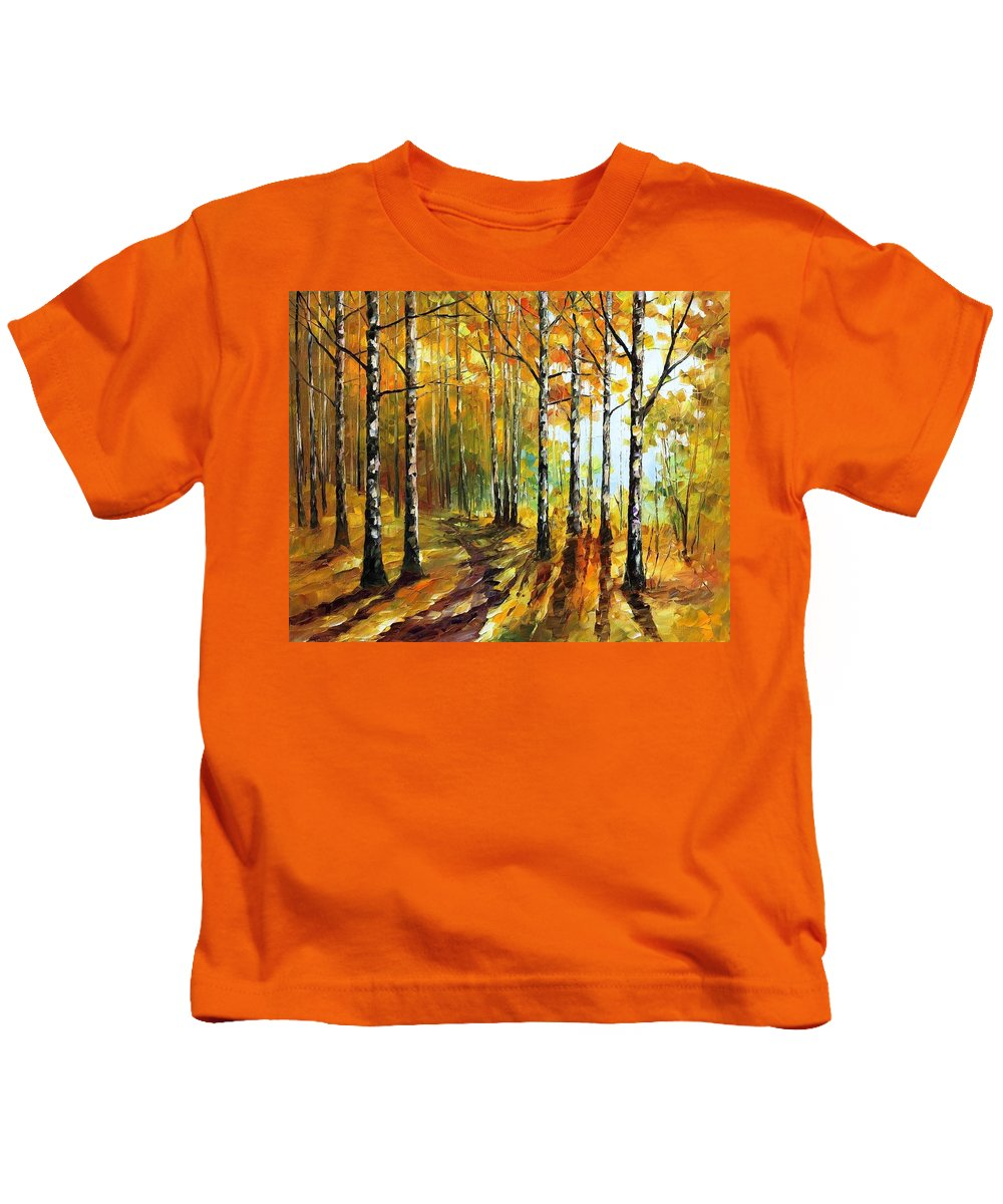 Afremov Kids T-Shirt featuring the painting Sunny Birches by Leonid Afremov