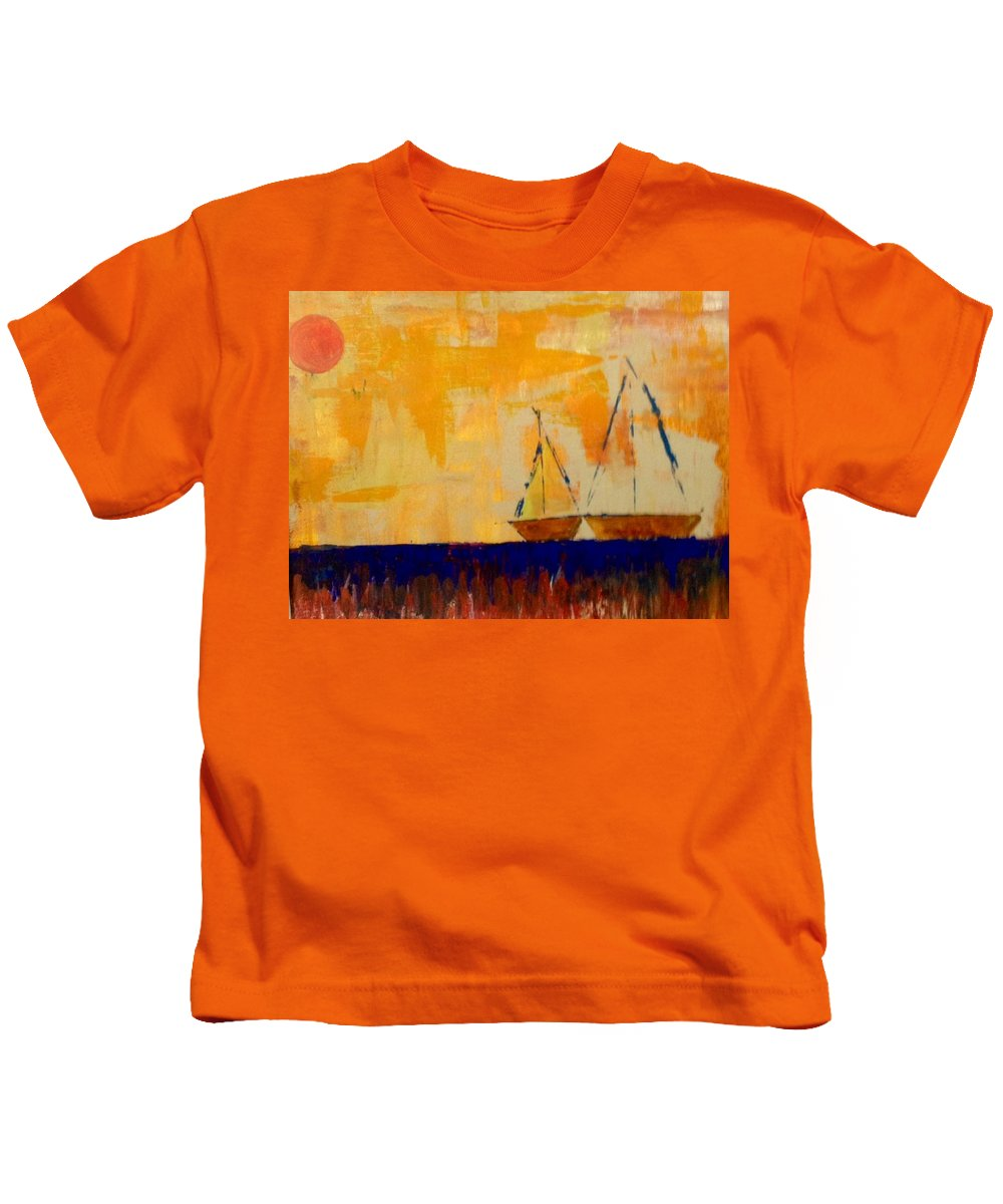 Orange Kids T-Shirt featuring the painting Sunny Day Sail by Phyllis Hollenbeck