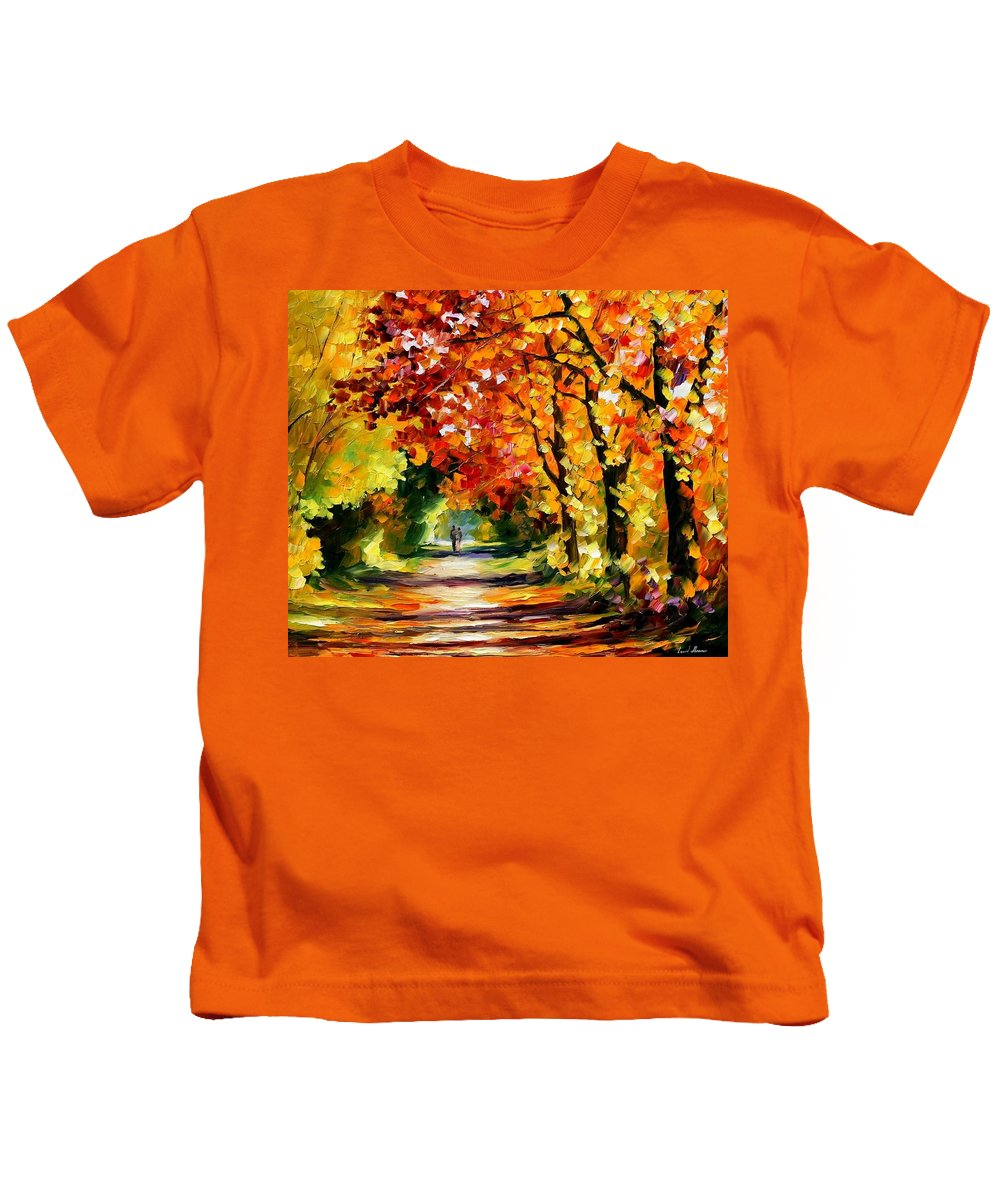 Afremov Kids T-Shirt featuring the painting Sunny Path by Leonid Afremov