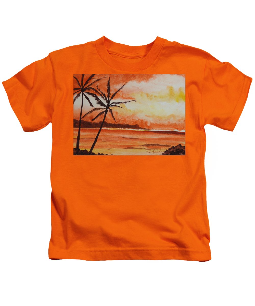 Landscape Kids T-Shirt featuring the painting Sunrise by Debbie Wilson