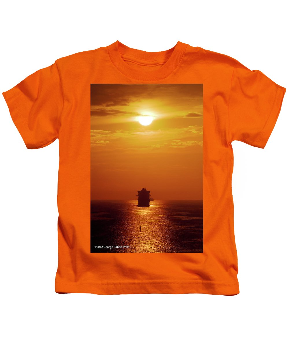 Ships Kids T-Shirt featuring the photograph Sunset - 36 by George Phile