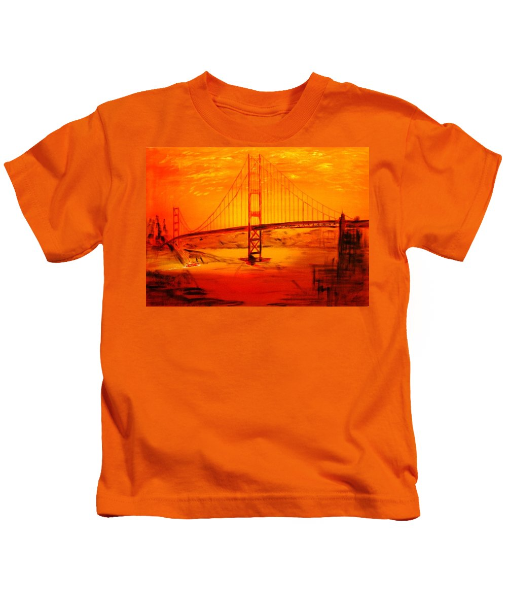 Sunset At Golden Gate Kids T-Shirt featuring the painting Sunset At Golden Gate by Helmut Rottler