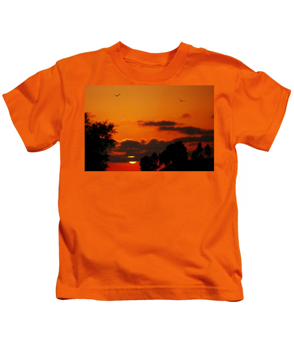 Sunset Kids T-Shirt featuring the photograph Sunset Birds by Jill Reger