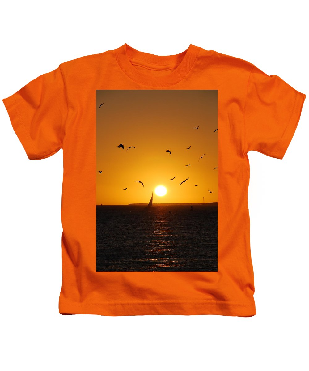 Sunset Kids T-Shirt featuring the photograph Sunset Birds Key West by Susanne Van Hulst