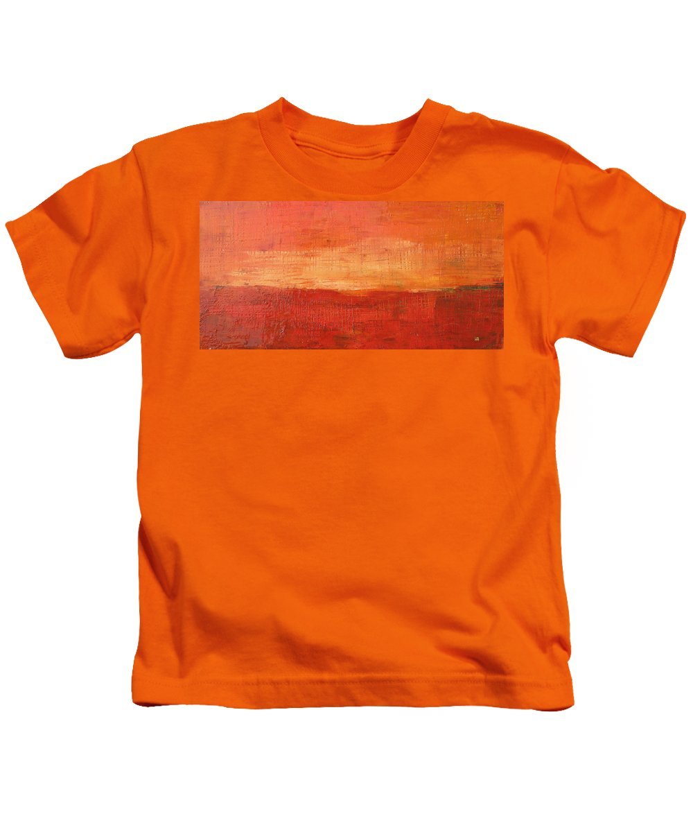 Abstract Kids T-Shirt featuring the painting Sunset by Habib Ayat