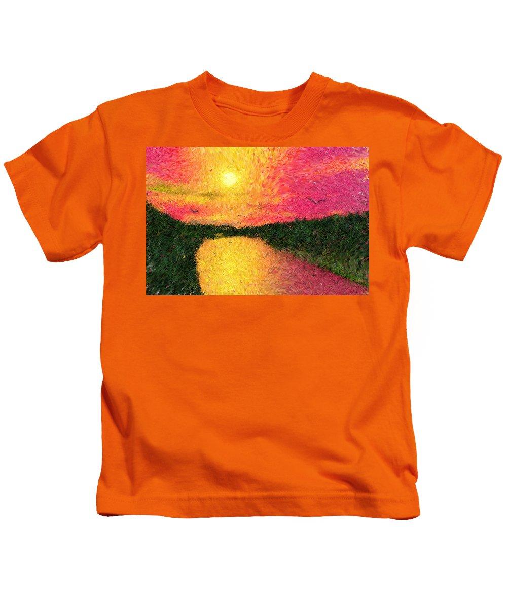 Digital Art Kids T-Shirt featuring the digital art Sunset On The River by David Lane