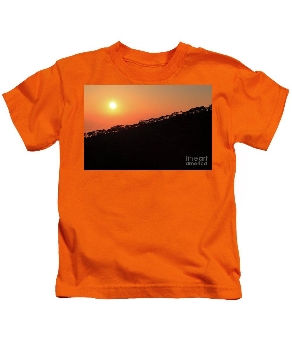 Sunset Kids T-Shirt featuring the photograph Sunset Over Pine Forest by Dia Karanouh