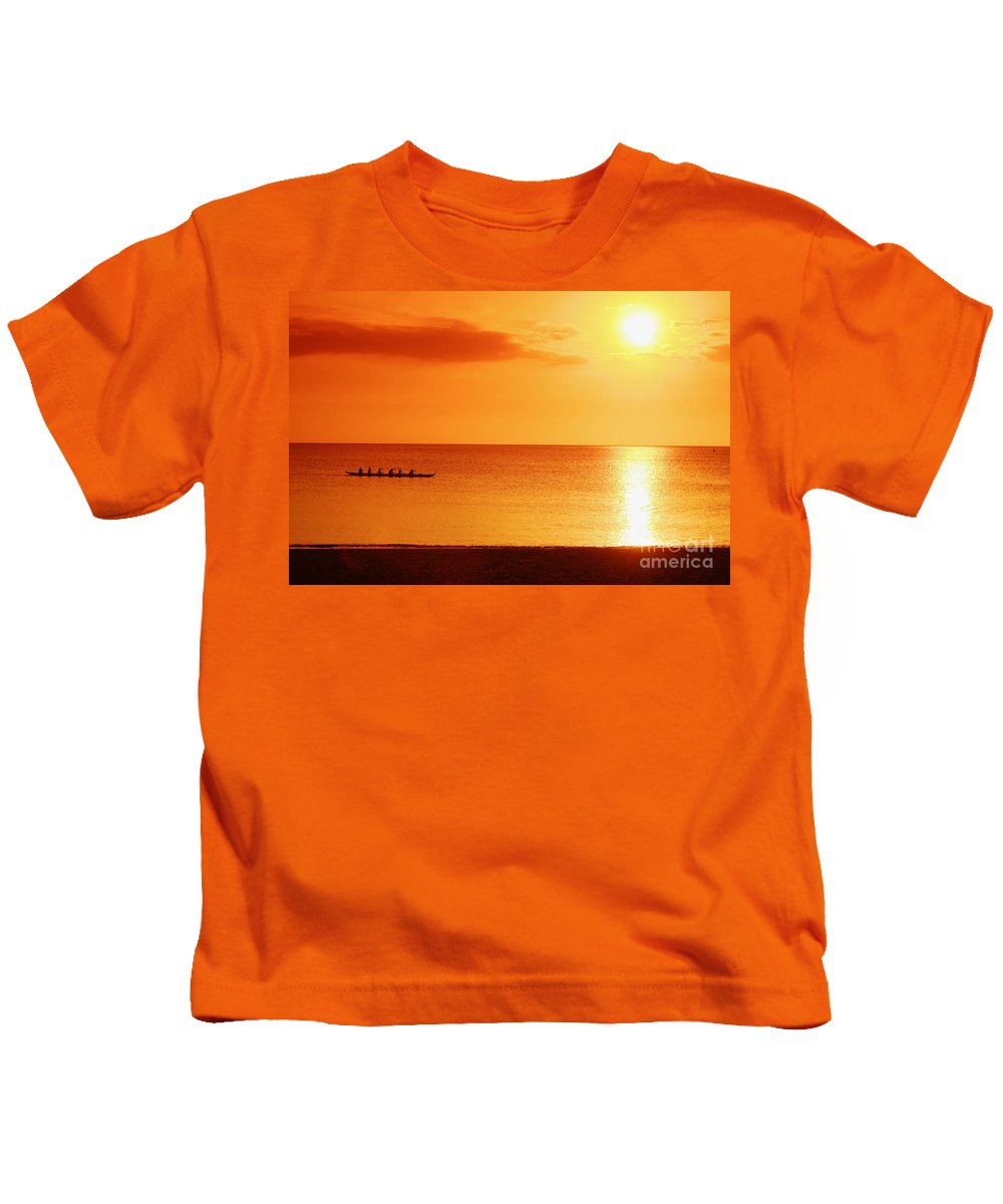 Boat Kids T-Shirt featuring the photograph Sunset Paddle by Vince Cavataio - Printscapes