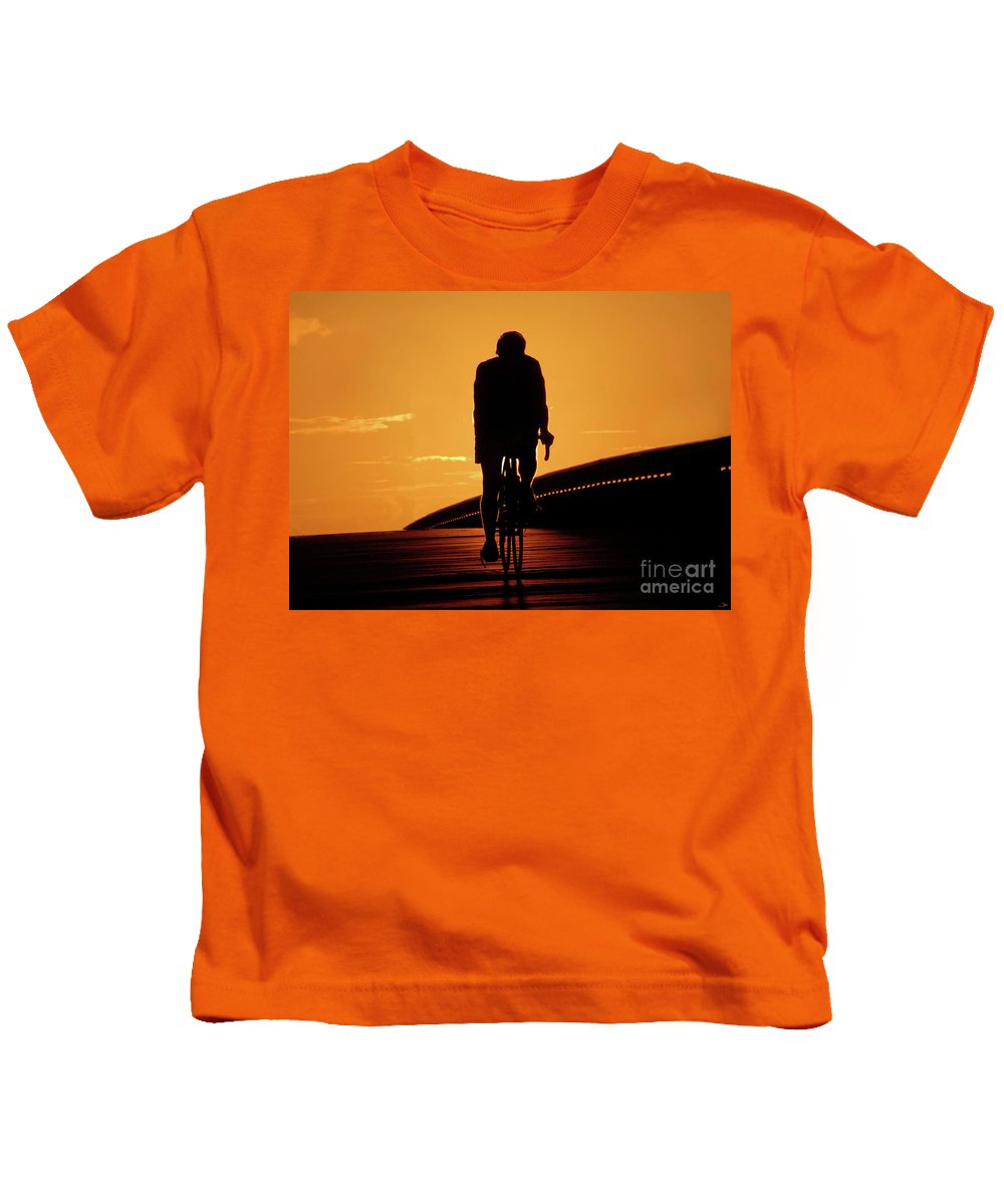 Fine Art Photography Kids T-Shirt featuring the photograph Sunset Ride by David Lee Thompson
