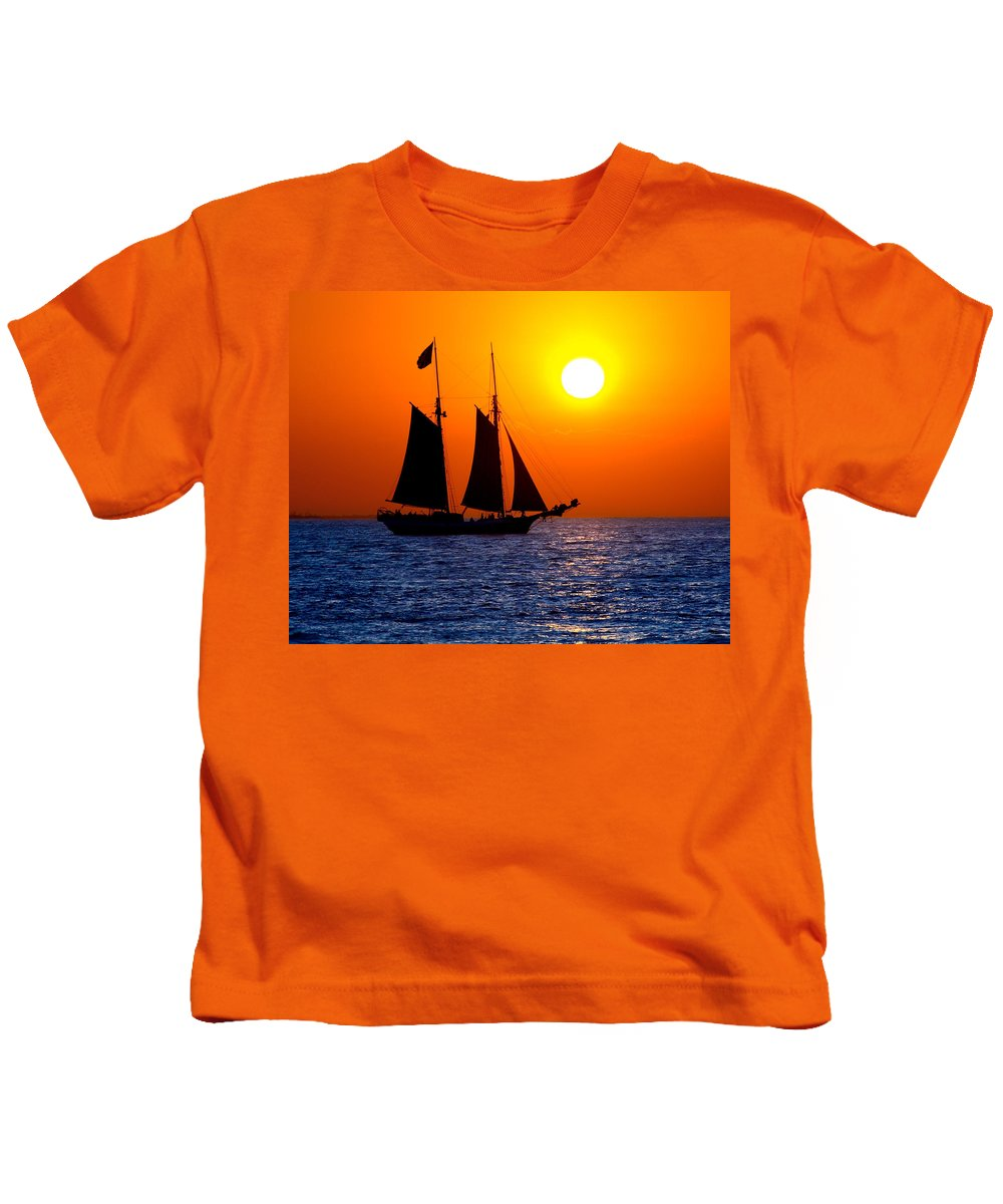 Yellow Kids T-Shirt featuring the photograph Sunset Sailing In Key West Florida by Michael Bessler