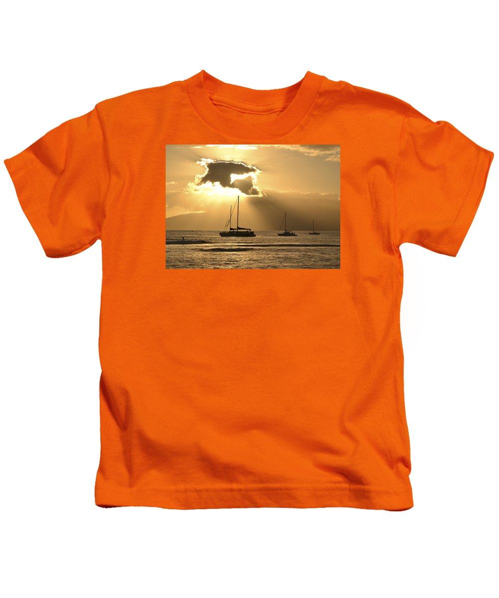 Sunset Kids T-Shirt featuring the photograph Sunset Surfer by Karen Rose Warner