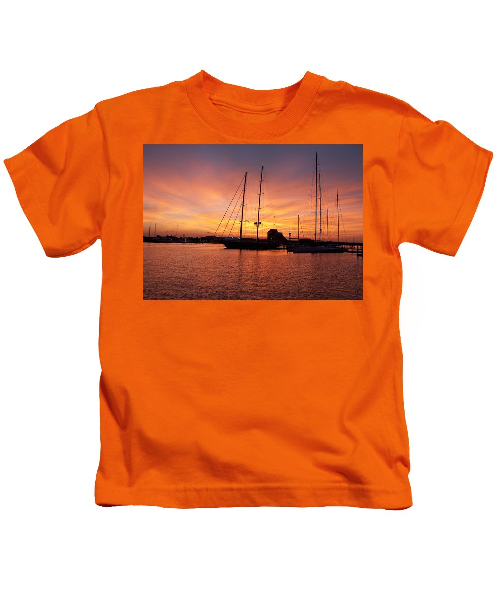 Sunset Kids T-Shirt featuring the photograph Sunset Tall Ships by Steven Natanson