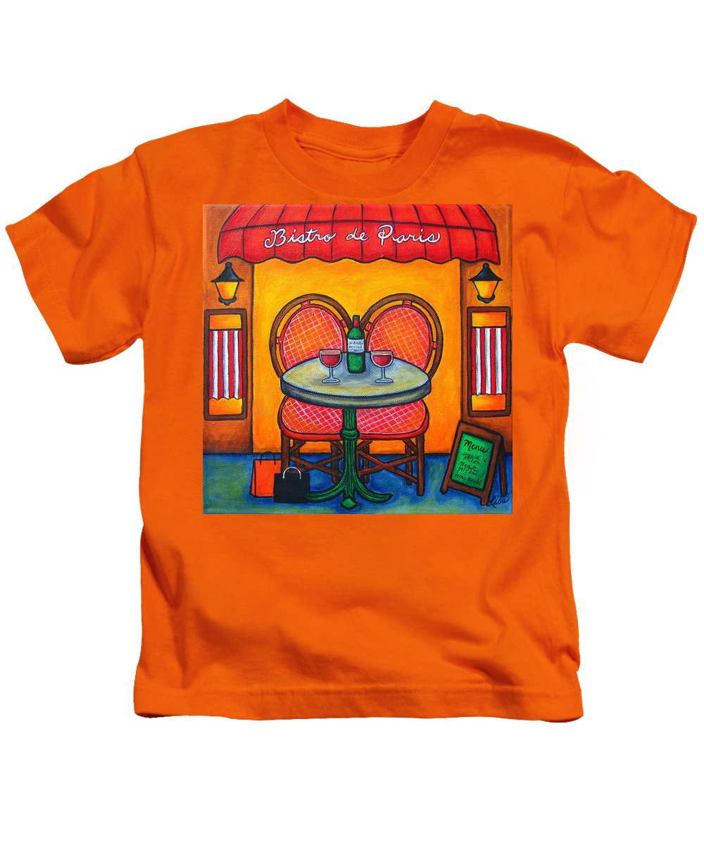 Paris Kids T-Shirt featuring the painting Table For Two In Paris by Lisa Lorenz