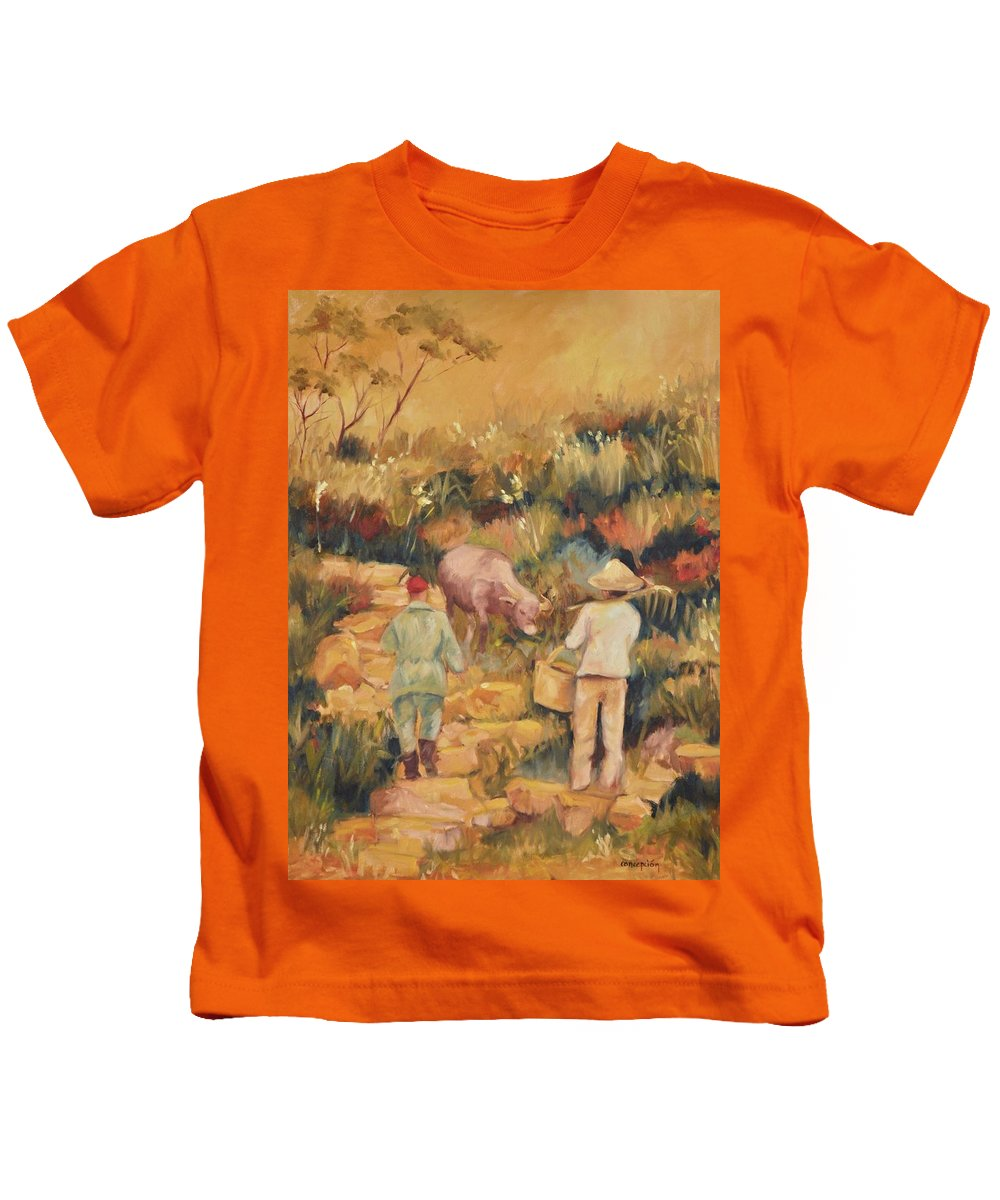 Water Buffalo Kids T-Shirt featuring the painting Taipei Buffalo Herder by Ginger Concepcion